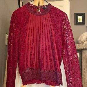 Romeo and Juliet couture lace top red wine
